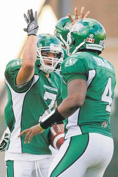 Fan favourite Weston Dressler (left) has returned to the Roughriders with hopes of rekindling the magical connection he has had with quarterback Darian Durant.