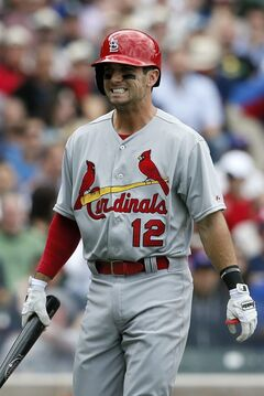 St. Louis Cardinals' Greg Garcia reacts after striking out against the Chicago Cubs during the fourth inning of a baseball game on Saturday, May 3, 2014, in Chicago. (AP Photo/Andrew A. Nelles)