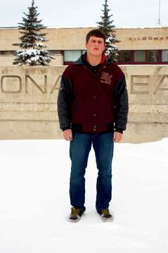 Kildonan-East Reivers linebacker Ben Mikoluff is shown outside the school.