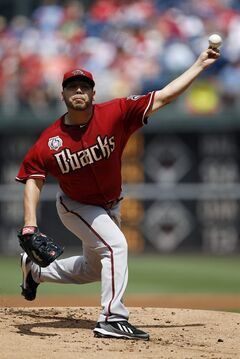 Arizona Diamondbacks' Vidal Nuno pitches during the first inning of a baseball game against the Philadelphia Phillies, Sunday, July 27, 2014, in Philadelphia. (AP Photo/Matt Slocum)