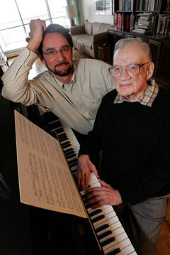 Composer Robert Turner (right) is seen in a 2005 file photo with David Scott, organizer of a GroundSwell retrospective of Turner's work.
