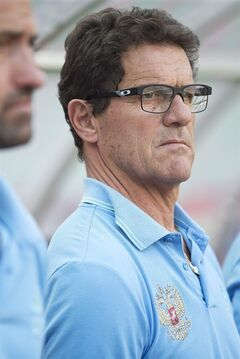 Russian national soccer team head coach Fabio Capello looks on before a friendly soccer match against Morocco in Moscow, Russia, Friday, June 6, 2014. Russia won 2-0. This is the last friendly match before Russia team leaving for Brazil to compete in the World Cup. (AP Photo/Pavel Golovkin)