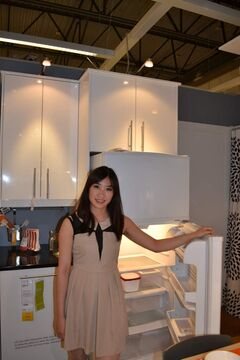 Kita Kwok with Kylig 18 cubic-foot firdge/freezer available at IKEA for $699.