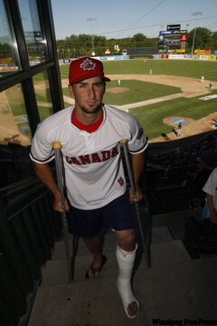 Goldeyes shortstop Wes Long is out for at least six weeks with broken ankle.