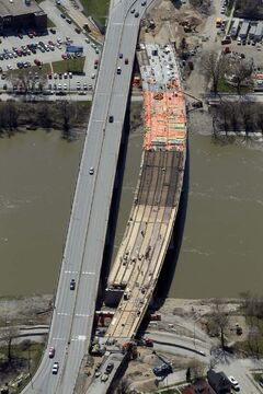 Construction on the Disraeli Bridge as seen from the air.