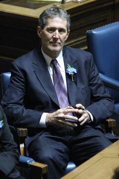 Brian Pallister listens to the throne speech on Monday.