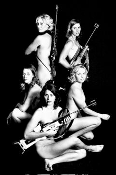 Biathletes (top left to right): Zina Kocher, Megan Imrie, Sandra Keith, Rosanna Crawford and Megan Tandy in their calendar shot.