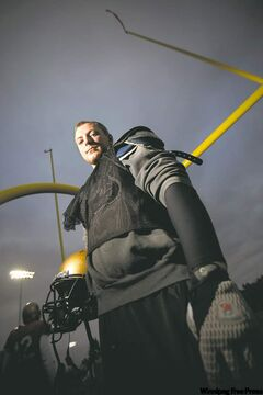 Manitoba's 250-pound defensive end Lauren Kroeker is a fairly imposing figure.