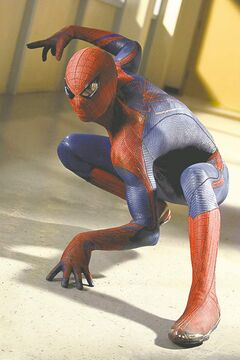 Garfield as Spider-Man in The Amazing Spider-Man.
