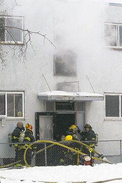 Fire crews at the scene of Sunday's fire.