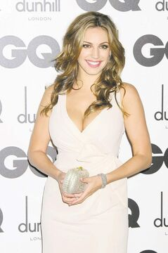 British model kelly Brook arrives for the GQ Men of the Year Awards at a central London venue, Tuesday, Sept. 6, 2011. (AP Photo/Jonathan Short)