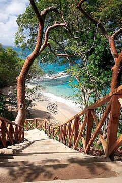 Stairway to a heavenly beach at Cap Maison in Saint Lucia.