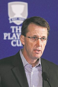 Mark Chipman, chairman of the Winnipeg Jets True North Foundation, announces a new partnership between The Players Cup and the Winnipeg Jets True North Foundation Wednesday afternoon at the MTS Centre.