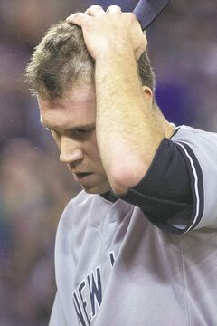 Not a good day: Yankees pitcher David Phelps gave up three runs in the sixth.