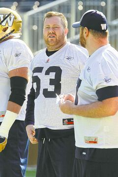 New Bomber Patrick Neufeld (53) takes in practice on Thursday.