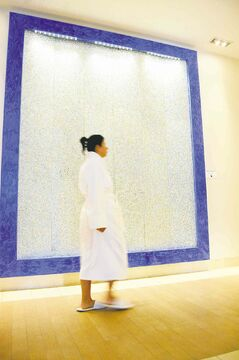 Passing the Swarovski crystal wall in the spa wing.