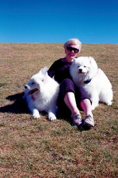 Kilcona Dog Park president Donna Henry is shown with her dogs Hudson and Terra at the park.