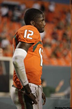 Miami's starting quarterback -- sophomore Jacory Harris -- is on the Winnipeg Blue Bombers' negotiation list.
