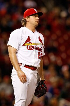 St. Louis Cardinals relief pitcher Trevor Rosenthal stands on the mound during the ninth inning of a baseball game against the Chicago Cubs, Tuesday, May 13, 2014, in St. Louis. (AP Photo/Scott Kane)