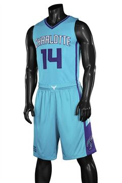 This image released by the Charlotte Hornets, shows the NBA basketball team's new uniform. The team unveiled three new primary uniforms featuring white, purple and teal colors on Thursday, June 19, 2014, in Charlotte, N.C. (AP Photo/Charlotte Hornets)