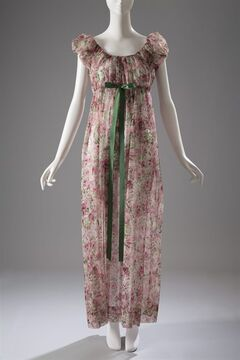 This image released by The Museum at FIT shows a 1950s Iris nightgown in printed nylon. From a 1770 corset to a 2014 bra-and-panty set in lacy stretch silk, the Museum at the Fashion Institute of Technology has taken on lingerie and ladies foundation garments as the focus of a new exhibition. In about 70 pieces,