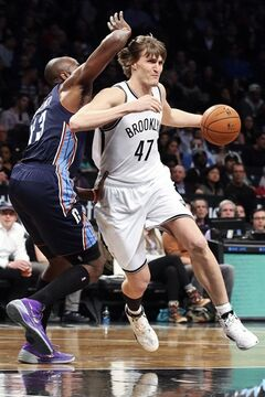 Brooklyn Nets forward Andrei Kirilenko (47) drives to the net against Charlotte Bobcats forward Anthony Tolliver (43) in the first half of an NBA basketball game, Wednesday, Feb. 12, 2014, in New York. (AP Photo/John Minchillo)