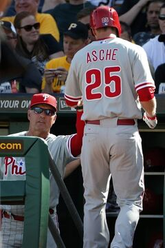 Philadelphia Phillies' Cody Asche (25) is greeted by manager Ryne Sandberg while returning to the dugout after hitting a solo home run off Pittsburgh Pirates starting pitcher Edinson Volquez during the fourth inning of a baseball game in Pittsburgh, Saturday, July 5, 2014. (AP Photo/Gene J. Puskar)