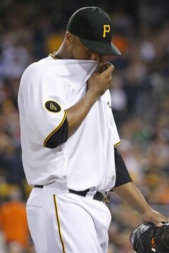 Pittsburgh Pirates starting pitcher Francisco Liriano walks to the dugout after pitching the fifth inning of a baseball game against the Baltimore Orioles in Pittsburgh on Tuesday, May 20, 2014. Liriano allowed six runs in five innings of work. The Orioles won 9-2. (AP Photo/Gene J. Puskar)