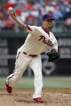 Philadelphia Phillies' A.J. Burnett pitches during the third inning of an interleague baseball game against the Los Angeles Angels, Wednesday, May 14, 2014, in Philadelphia. (AP Photo)