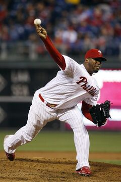 Philadelphia Phillies' Roberto Hernandez pitches during the first inning of a baseball game against the Colorado Rockies, Wednesday, May 28, 2014, in Philadelphia. (AP Photo/Matt Slocum)