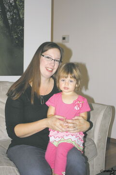 Joleen Dilk Salyn, founder of Baby Sleep 101, with her two-year-old daughter Falena.