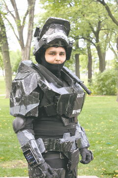 Joshua Cook in costume as a character from Halo: Reach at a recent charity event at St. John's Park.