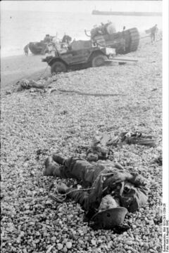 A fallen Canadian soldier lies on the beach after the raid on Dieppe.