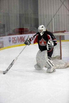 Justine McIntosh is goalie for the Winnipeg Avros Midget AAA team. The team is raising money for CancerCare by playing a fundraising game at the Selkirk Recreation Complex on Nov. 16.