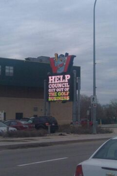 Mynarski Coun. Ross Eadie circulated this photo of a 'Responsible Winnipeg' advertisement appearing on an electronic sign run by the Katz-owned Winnipeg Goldeyes baseball club.