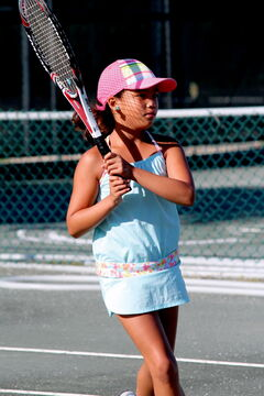 Sabrina Alano hits the court at the Taylor Tennis Club Thursday morning to practice before competing in the U12 Outdoor Rogers Junior Nationals in Mont Tremblant, QC Aug. 19-25.