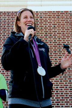 Olympic silver medal-winning rower Janine Hanson, a former St.Amant School employee, kicked off the walkathon.