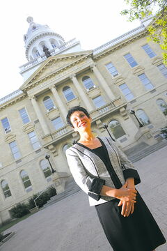 Raymonde Gagné pictured outside Université de Saint-Boniface.