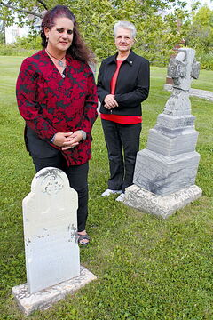 "Cuthbert Grant's burial grounds are the thing of myth and mystery, but North End resident and Grant descendant Sandra Horyski (left) is making plans to have a marker placed in the cemetery of the St. Francois Xavier Roman Catholic Parish, next to his daughter Maria and her husband Pascal Breland.""I'm glad that it is finally being done,"" says parish representative Odile Thibert, at right."