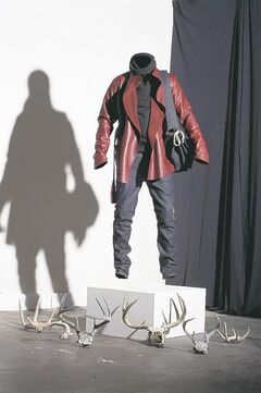 Above, below: Leonard Taylor's fall men's fashion line features items in raw cotton,denim and  Italian leather.