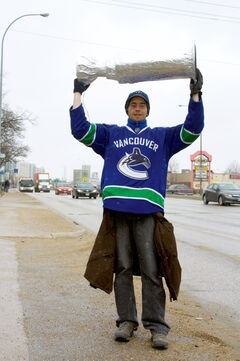 North Kildonan resident and Vancouver Canucks diehard fan James Forgie paraded a tinfoil Stanley Cup along Henderson Highway from McLeod Avenue to Gilmore Avenue on May 1, the date of the Canucks' opening playoff game against the San Jose Sharks.