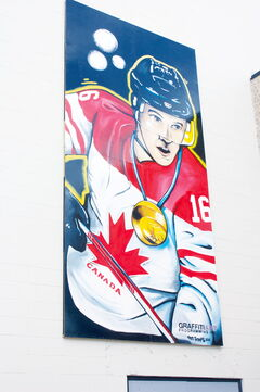 The mural of Jonathan Toews that was unveiled at Jonathan Toews Community Centre on July 19 is shown.