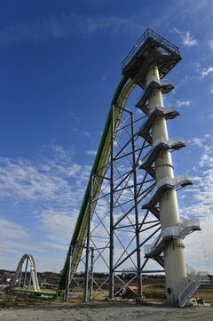 FILE - In this Nov. 2013 file photo shows Schlitterbahn's new Verr�ckt speed slide/water coaster in Kansas City, Kan. After three delays, the world's tallest water slide is scheduled to open this week. Officials at Schlitterbahn water park in Kansas City, Kan., said Tuesday, July 8, 2014, that the public will be able to ride the Verr�ckt slide on Thursday. (AP Photo/The Kansas City Star, Jill Toyoshiba)