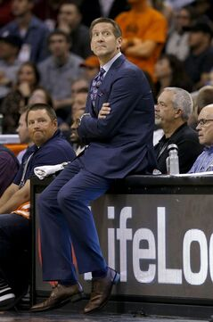 Phoenix Suns' Jeff Hornacek watches the final moments of a loss to the Washington Wizards during the second half of an NBA basketball game Friday, Jan. 24, 2014, in Phoenix. The Wizards defeated the Suns 101-95. (AP Photo/Ross D. Franklin)