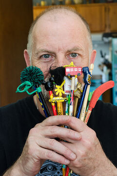 Winnipeg local Patrick Tackaberry has collected hundreds of pencils over the past thirty years.  He often picks them up when he travels and friends also contribute to his collection by bringing back souvenirs from their trips abroad.