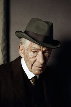In this undated photo released by See-Saw Films, British actor Ian McKellen poses for a photograph on the first day of filming for