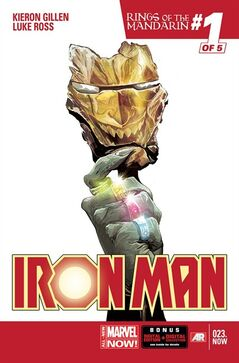 "This image provided by Marvel Entertainment shows the cover of Iron Man, issue No. 23, Rings of the Mandarin, No. 1 of 5. The new arc for Marvel Entertainment's ongoing ""Iron Man"" series starts with issue No. 23 and, says writer Kieron Gillen, the five-part story melds a culture clash pitting magic, modern technology and fairy-inspired legend and lore. (AP Photo/Marvel Entertainment)"
