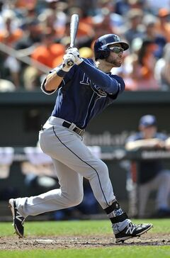 Tampa Bay Rays' Kevin Kiermaier follows through on a solo home run against the Baltimore Orioles in the sixth inning of a baseball game, Sunday, June 29, 2014, in Baltimore.(AP Photo/Gail Burton)