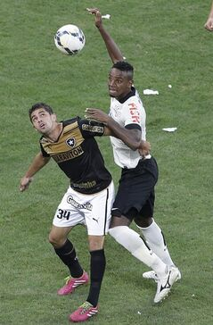 Corinthians's Cleber, right, fights for a ball with Botafogo's Gege during a Brazilian soccer league match at the Itaquerao, the stadium that will host the World Cup opener match between Brazil and Croatia on June 12, in Sao Paulo, Brazil, Sunday, June 1, 2014. (AP Photo/Andre Penner)