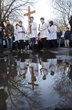 Catholics in Moscow hold a procession in days leading up to Easter.